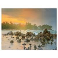 Rocky Romantic Beach of Sri Lanka - Landscape Glossy Metal Wall Art
