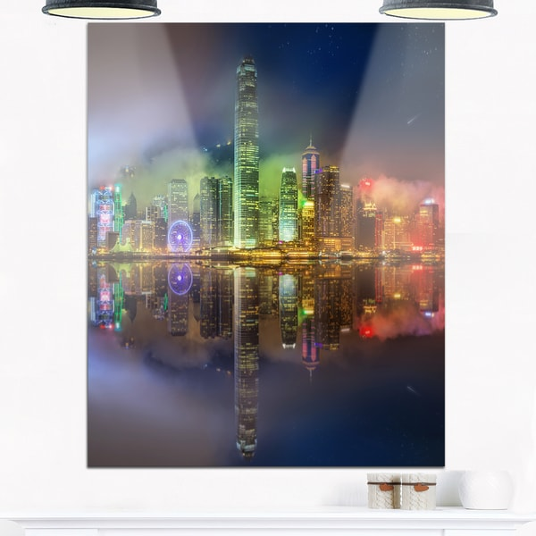 Hong Kong Panoramic View - Seascape Photo Glossy Metal Wall Art