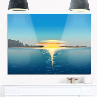 Sea Sinking Sun - Seascape Art Glossy Metal Wall Art