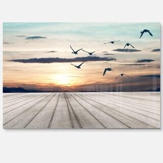Wooden Floor Sunset - Seashore Art Glossy Metal Wall Art