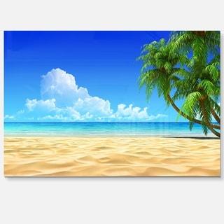 Coconut Palms Bent into Beach - Seashore Art Glossy Metal Wall Art