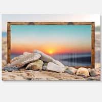 Framed Blurred Beach - Seashore Art Glossy Metal Wall Art