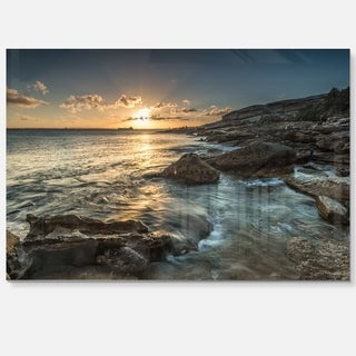 Sydney Beach with Bright Sunset - Seashore Glossy Metal Wall Art