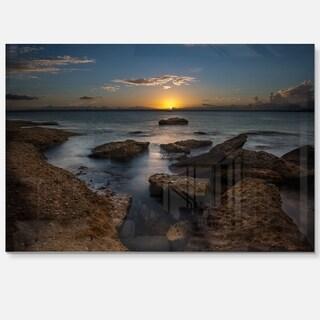 Rocky Sydney Beach at Sunset - Seashore Glossy Metal Wall Art