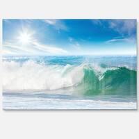 White and Blue Waves under Sun - Seashore Glossy Metal Wall Art