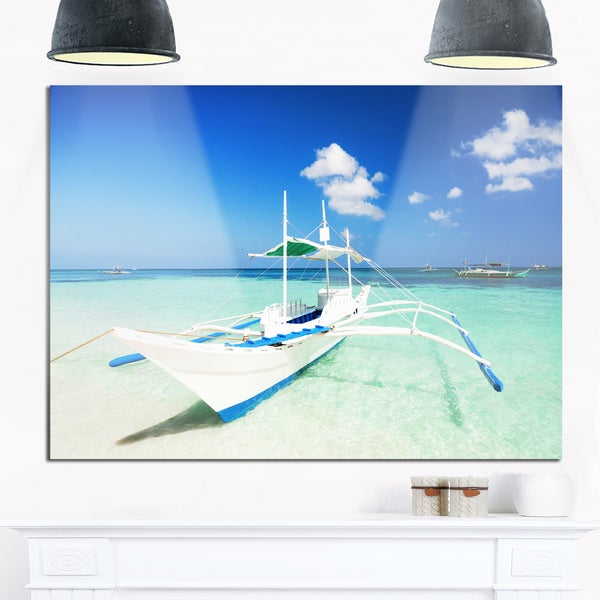 Boat in Blue Sea Water - Seashore Glossy Metal Wall Art