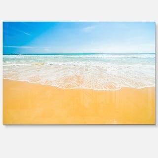 Long Waves on Sand under Blue Sky - Seashore Glossy Metal Wall Art