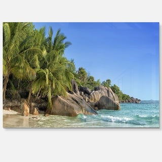 Anse Lazio Praslin Island Seychelles - Large Seashore Glossy Metal Wall Art