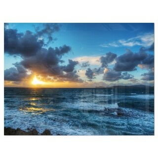 Sunset at Alghero under Dramatic Sky - Large Seashore Glossy Metal Wall Art