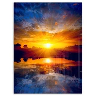 Bright Yellow Sunset Over Lake - Large Seashore Glossy Metal Wall Art