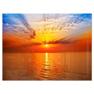 Orange Sea Sunrise under Blue Sky - Large Seashore Glossy Metal Wall Art