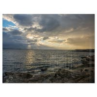 Cloudy Australian Seashore in Sydney - Large Seashore Glossy Metal Wall Art