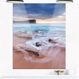Bright Sydney Sea with Long Waves - Large Seashore Glossy Metal Wall Art