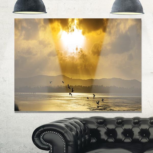 Glittering Sun Among heavy Clouds - Large Seashore Glossy Metal Wall Art