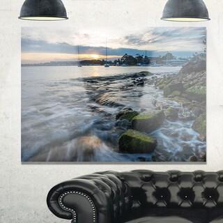 White Waves Hitting Rocky Seashore - Large Seashore Glossy Metal Wall Art