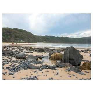 Pretty Beach with Small and Big Rocks - Large Seashore Glossy Metal Wall Art