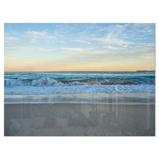 Blue Splashing Scene Beach - Large Seashore Glossy Metal Wall Art