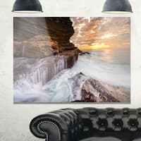 White Sea Waters at Coogee Beach - Large Seashore Glossy Metal Wall Art