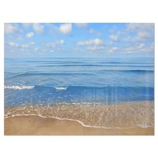 Expansive Tropical Blue Beach - Large Seashore Glossy Metal Wall Art