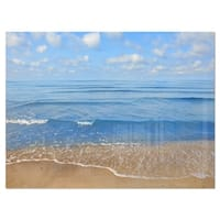 Expansive Tropical Blue Beach - Large Seashore Glossy Metal Wall Art