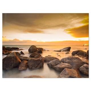 Rocky Yellow Tropical Beach - Large Seashore Glossy Metal Wall Art