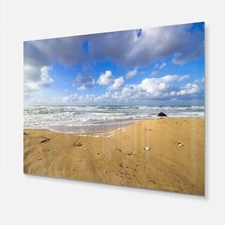 Sea Beach on Cloudy Winter Day - Large Seashore Glossy Metal Wall Art