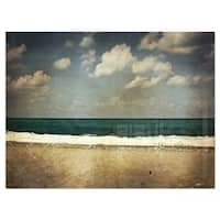 Vintage Beach with Heavy Clouds - Large Seashore Glossy Metal Wall Art