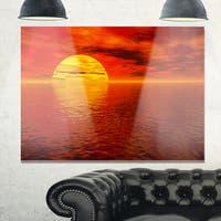 Sun Falling to Yellow Ocean - Large Seashore Glossy Metal Wall Art