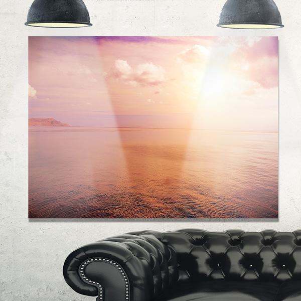 Pink Sky Over Dark Beach at Sunset - Large Seashore Glossy Metal Wall Art