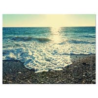 Dramatic Blue Waves on Beach - Large Seashore Glossy Metal Wall Art