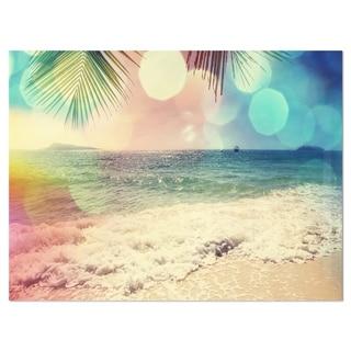 Colorful Serenity Tropical Beach - Large Seashore Glossy Metal Wall Art
