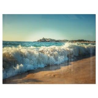 Stormy Waves Hitting Beach Sand - Modern Beach Glossy Metal Wall Art