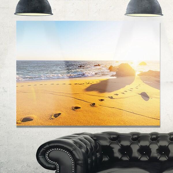 Large Footprints on Beach Sand - Modern Beach Glossy Metal Wall Art ...