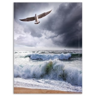 Large Seagull over Stormy Waves - Modern Beach Glossy Metal Wall Art