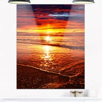 Colorful Sunset Mirrored in Waters - Modern Beach Glossy Metal Wall Art