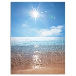Serene Seascape with Bright Sun - Modern Beach Glossy Metal Wall Art