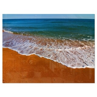 Summer Beach with White Waves - Modern Beach Glossy Metal Wall Art