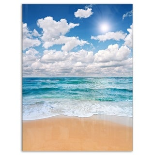 Peaceful Seashore under White Clouds - Modern Beach Glossy Metal Wall Art