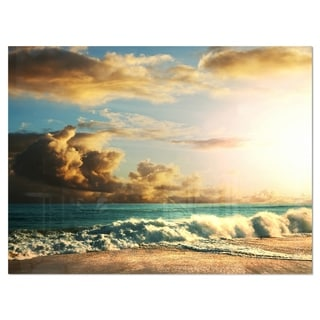 Green Sea Beach under Cloudy Sky - Modern Beach Glossy Metal Wall Art