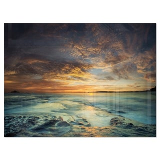 The Tanah Lot Temple In Bali Island - Modern Beach Glossy Metal Wall Art