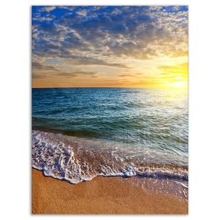 Layers of Colors on Sunrise Beach - Seashore Glossy Metal Wall Art