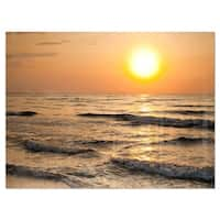 Typical Sunrise with Tranquil Waves - Seashore Glossy Metal Wall Art