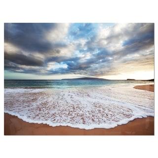 Deep Seashore with Clouds and Waves - Seashore Glossy Metal Wall Art