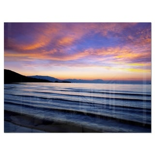 Blue Dramatic Sky over Layered Waves - Seashore Glossy Metal Wall Art