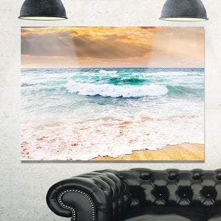 Blue Sea Waves Kissing Sandy Beach - Seashore Glossy Metal Wall Art