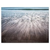 Ocean Beach Water Motion - Seashore Glossy Metal Wall Art