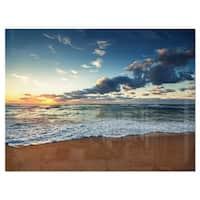 Sunrise and Glowing Waves in Ocean - Seashore Glossy Metal Wall Art