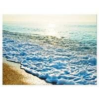 Bright Blue Tranquil Seashore - Beach Glossy Metal Wall Art