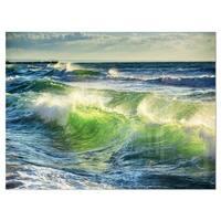 Sunrise and Shining Waves in Ocean - Beach Glossy Metal Wall Art