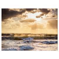 Sunrise and Roaring Blue Sea Waves - Beach Glossy Metal Wall Art